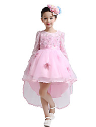 Ball Gown Asymmetrical Flower Girl Dress - Satin / Tulle Long Sleeve Jewel with Embroidery / Flower(s)