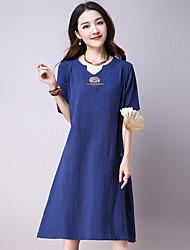 Women's Beach Simple Loose Dress,Embroidered V Neck Knee-length ½ Length Sleeve Blue / Red / Green Linen Summer