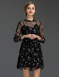 Women's Going out Sophisticated A Line DressFloral Round Neck Mini  Sleeve Black Polyester Summer