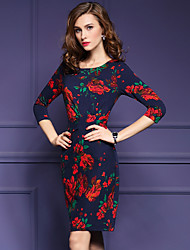 Women's Going out Sophisticated A Line DressFloral Round Neck Above Knee  Sleeve Blue Acrylic Fall