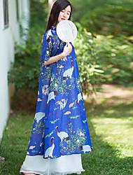 Feminino Solto Vestido,Casual Chinoiserie Floral / Estampa Animal Colarinho Chinês Longo Meia Manga Azul Linho Verão Cintura MédiaSem