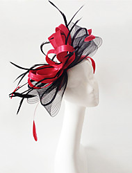 Kentucky Derby Church Races Red And Black Flax Wedding Event Fascinator