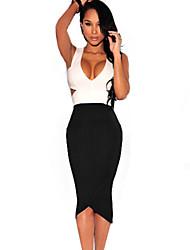 Women's Black White Sexy Cut-Out Midi Dress