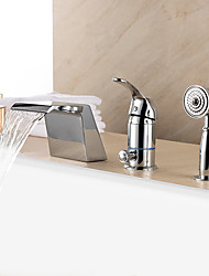 Contemporary Tub Waterfall / Handshower Included with Ceramic Valve 1-Handle 3-Holes for Chrome Bathtub Faucet