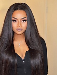 8 to 24 inches Brazilian Human Hair Wigs Light Yaki Straight Glueless Lace Front Wigs For Black Women