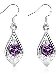 925 silver inlaid purple stone Shell Earrings
