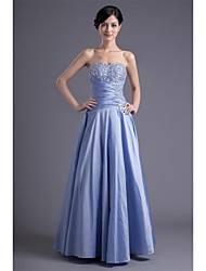 A-Line Sweetheart Floor Length Taffeta Formal Evening Dress with Beading Pleats