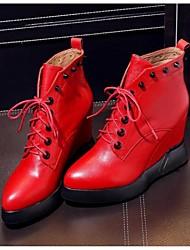 Черный / Красный-Женский-Для прогулок-Кожа-На танкетке-Военные ботинки-Ботинки