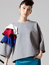 room404 mulheres saindo simples Primavera tripulação blousesolid manga pescoço branco / algodão cinza opaco