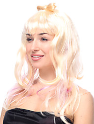 POP Star Gradient Yellow and Pink Long Wavy Halloween Wig Synthetic Wigs Costume Wigs