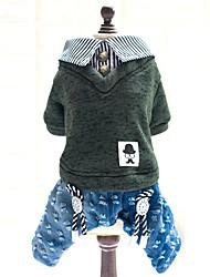 katten / honden kostuums / Broeken / Jumpsuits / Jeans Groen / Geel Hondenkleding Winter / Lente/Herfst Streep / JeansNieuwjaar / Houd