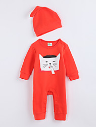 Ensemble & Combinaison Fille de Motif Animal Décontracté / Quotidien Coton Automne Orange
