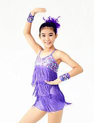 Latein-Tanz Kleider Damen Kinder Vorstellung Elastan Polyester Pailletten 4 Stück Ärmellos Hoch Kleid Armbänder Kopfbedeckungen