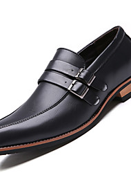 Men's Business Comfort Leather Office & Career / Casual Flat Heel Slip-On Black / Brown Others
