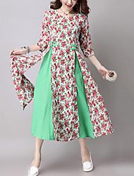 Women's Casual Ethnic Print Loose /Swing DressPrint /Patchwork  Sleeve Blue /Red /Green Cotton /Linen Fall / Winter