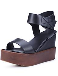 Women's Sandals Summer Platform Leather Casual Wedge Heel Platform Magic Tape Black Brown Other