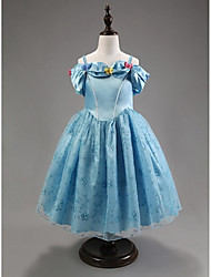 Blue Short sleeve Flower Girl Dresses Pageant Dresses For Girls Party Dress Halloween dress Vestidos