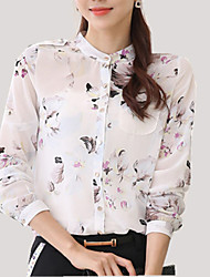 Women's Stand Collar Floral Print Chiffon Shirt