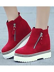 Черный / Красный-Женский-Для прогулок-Хлопок-На платформе-Военные ботинки-Ботинки