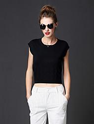 las mujeres frmz de salir sencilla pulloversolid redondo de color negro sin mangas de cuello regular de caer medio inelástico