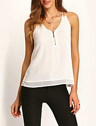 Women's Casual/Daily Street chic Summer BlouseSolid Strap Sleeveless White Polyester Medium