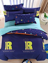 bedtoppings cachecol 4pcs duvet cover quilt definir o tamanho da rainha folha fronha plana azul seleção impressões microfibra