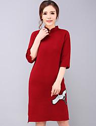 A tunica Vestito Da donna-Per uscire Stoffe orientali Ricamato Colletto alla coreana Sopra il ginocchio Maniche a ¾Blu / Rosso / Nero /