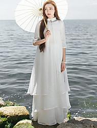 Courte Robe Femme Décontracté / Quotidien Chinoiserie,Fleur Mao Mi-long Manches ¾ Blanc Lin Printemps / Eté Taille Normale Non Elastique