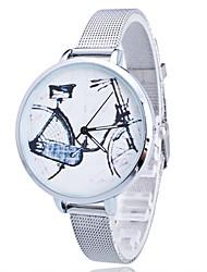 Women/Lady's Gold/Silver Steel Thin Band Bike White Round Case Analog Quartz Fashion Watch