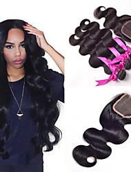 Trame cheveux avec fermeture Cheveux Indiens Droit 4 Pièces tissages de cheveux