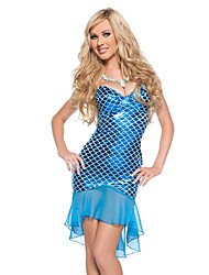 Costumes de Cosplay / Costume de Soirée Sirène Fête / Célébration Déguisement Halloween Bleu Motif Animal Robe Halloween Féminin Térylène