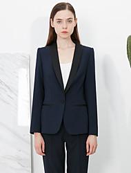 c + impressionar o trabalho das mulheres simples todas as estações blazersolid xaile lapela azul médio de poliéster de manga longa