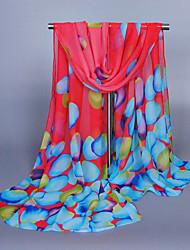 Women's Chiffon Petal Print Scarf Red/Blue/Purple/Pink/Yellow
