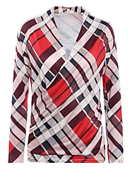 Damen Verziert Retro / Einfach Lässig/Alltäglich T-shirt,V-Ausschnitt Herbst / Winter Langarm Rot Baumwolle / Kunstseide Dünn