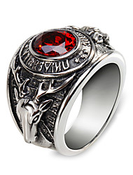 Unisex Fashion 316L Titanium Steel Vintage Personality Elk Engraved Zircon Statement Rings Casual/Daily 1pc