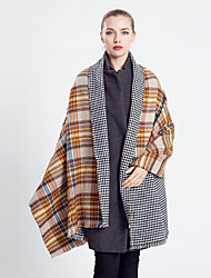 Women Vintage Casual Rectangle Yellow  Plaid Both Sides Cashmere Tassel Wool Scarf  Scarves