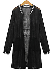 Women's Plus Size / Casual/Daily Vintage Summer Jackets,Print Round Neck Long Sleeve Black Polyester Translucent
