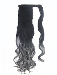 Heat Resistance Synthetic Wrap Ponytail Curl wavy Around Invisible ombre Hairpiece Two tone Pop Pony 1BTGary