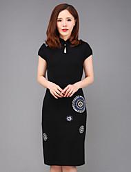 bainha chinoiserie trabalho yang x-M das mulheres dresssolid ficar manga curta na altura do joelho