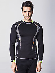Men's Printing Leisure Long-sleeved Round Neck Bodybuilding Speed Drying Clothes Tight Stretch Base Shirt