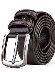 Mens Silver Belt Buckle Casual Pants Jeans Brown Leather Wide Waist Belt Straps
