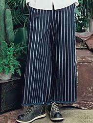 Aporia.As Women's Mid Rise Wide Leg Blue Casual Pants-MZ11076
