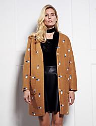Damen Stickerei Street Schick Ausgehen Mantel,Winter V-Ausschnitt Langarm Gelb Dick Wolle / Kunstseide