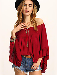 Women's Casual/Daily Street chic Spring / Fall ShirtSolid Boat Neck Long Sleeve Red Linen Medium