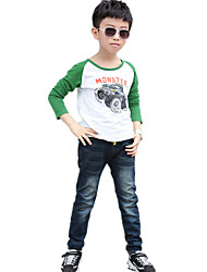 Boy's Fashion Slim Pocket Design Color Block Patched Washed Denim Pants / Jeans