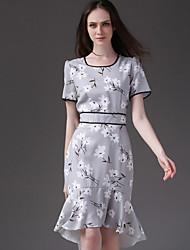 Eosciy® Feminino Colarinho Chinês Manga Curta Assimétrico Vestidos-51106