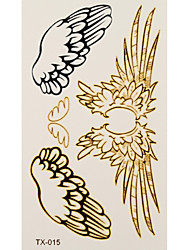 1pc Gold Silver Waterproof Tattoo Angel Wing Temporary Tattoo Sticker 10.5*6cm