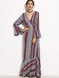 Women's Holiday Vintage Shift DressPrint Deep V Maxi Long Sleeve Multi-color Polyester Fall High Rise Inelastic Medium