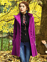 Our Story Women's Going out Boho CoatEmbroidered Stand Long Sleeve Winter Purple Rayon / Polyester Medium