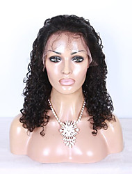 100% Natural Black Color Brazilian Virgin Human Hair Kinky Curly Lace Front Wig With Baby Hair